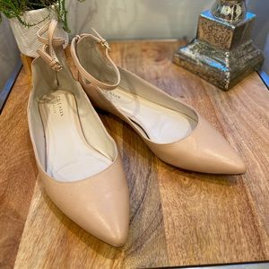 Cole Han Grand OS nude ankle strap flats